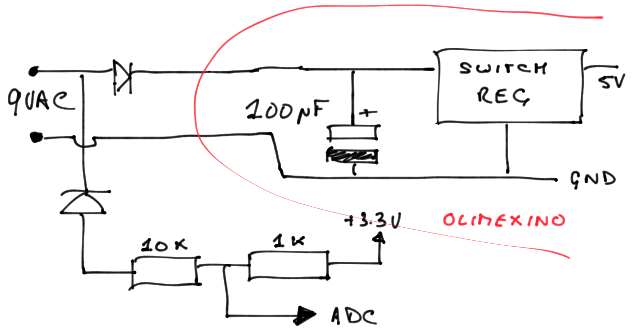 Powering From An Ac Source Jeelabs Voltage Divider Diagram As Described In A Recent Article Is Used To Reduce The Signal Acceptable Levels For Adc Readout And This Then Connected